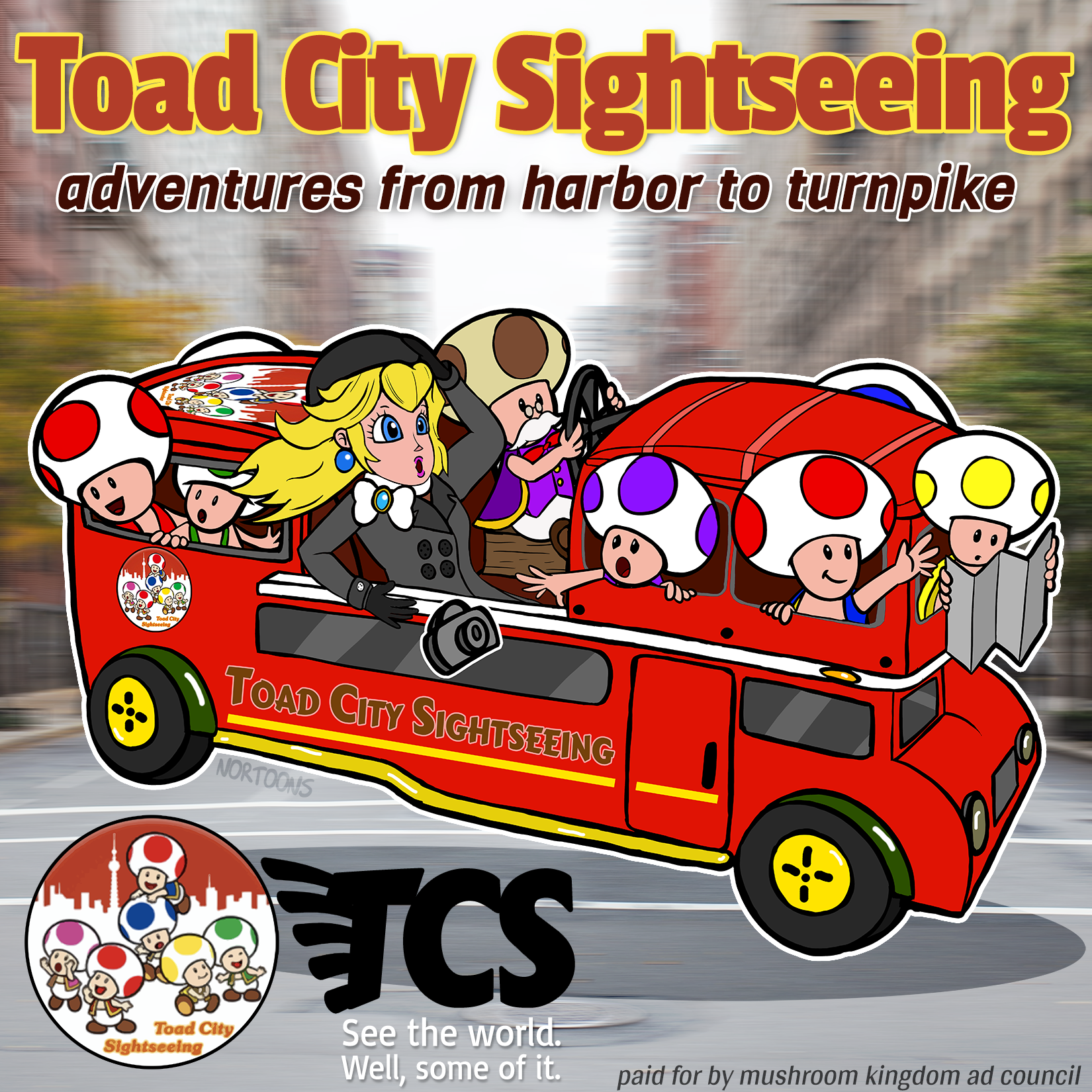 Toad City Sightseeing feat. Princess Peach, Toadsworth, and many Toads