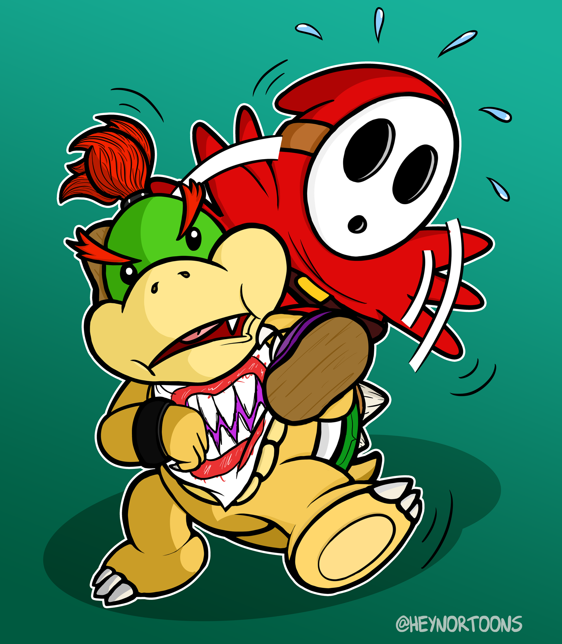 Bowser Jr. and a shy guy