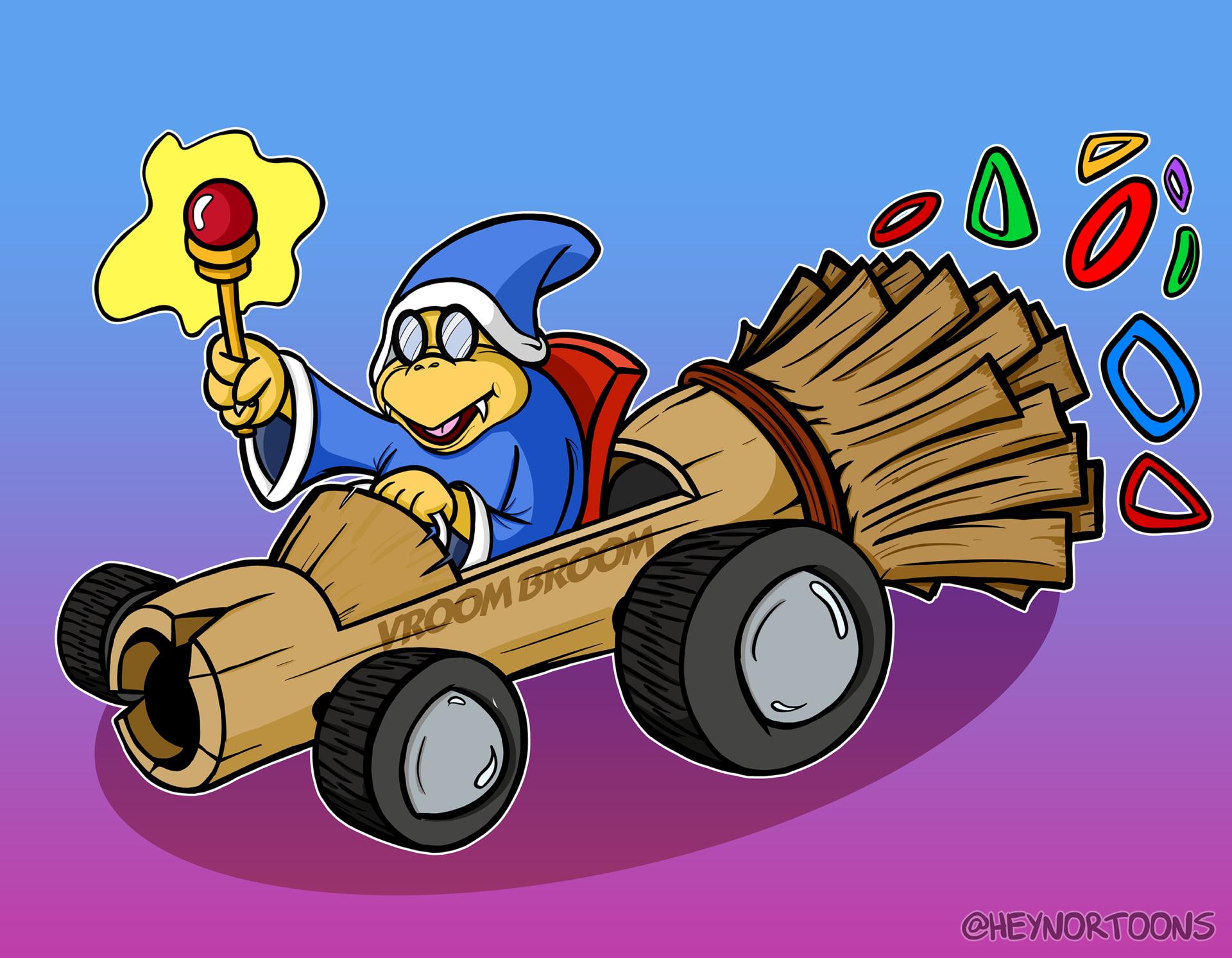 Kamek Driving the Vroom Broom kart