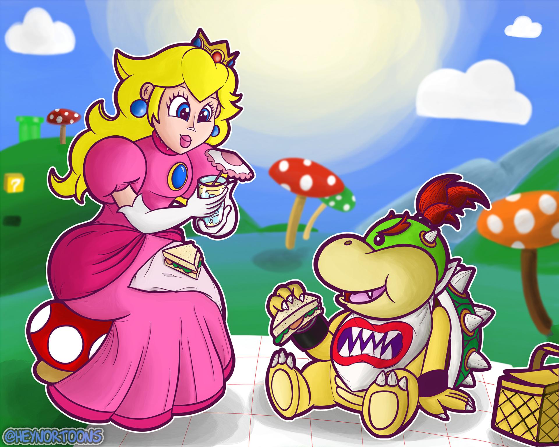 Princess Peach and Bowser Jr. Having a Picnic