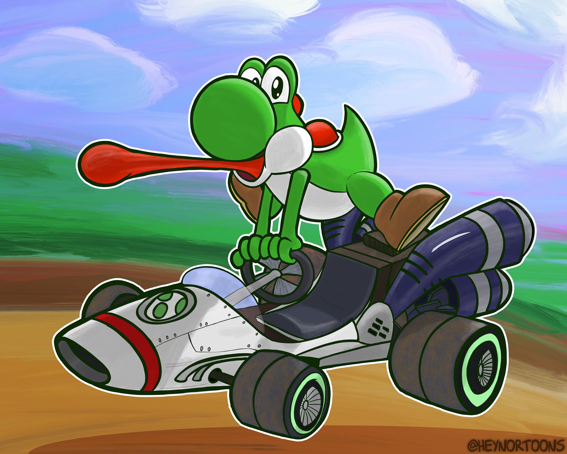 Yoshi Driving the B-Dasher Kart