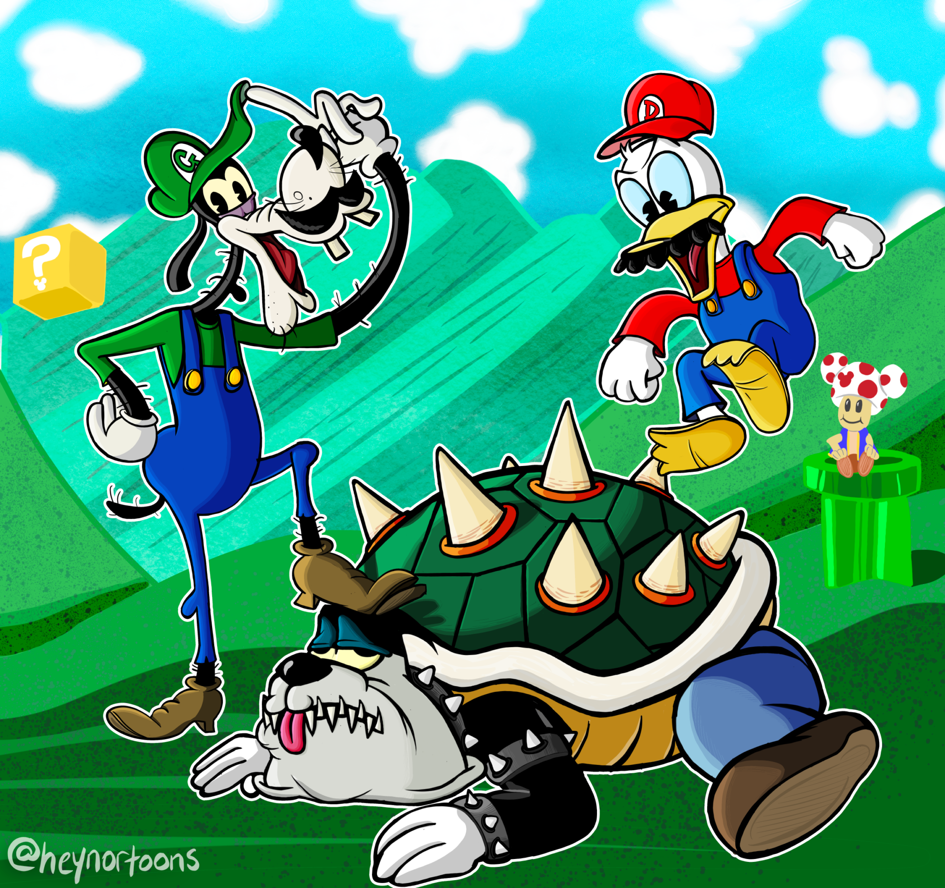 Goofy, Donald and Pete reimagined as Mario Brothers characters