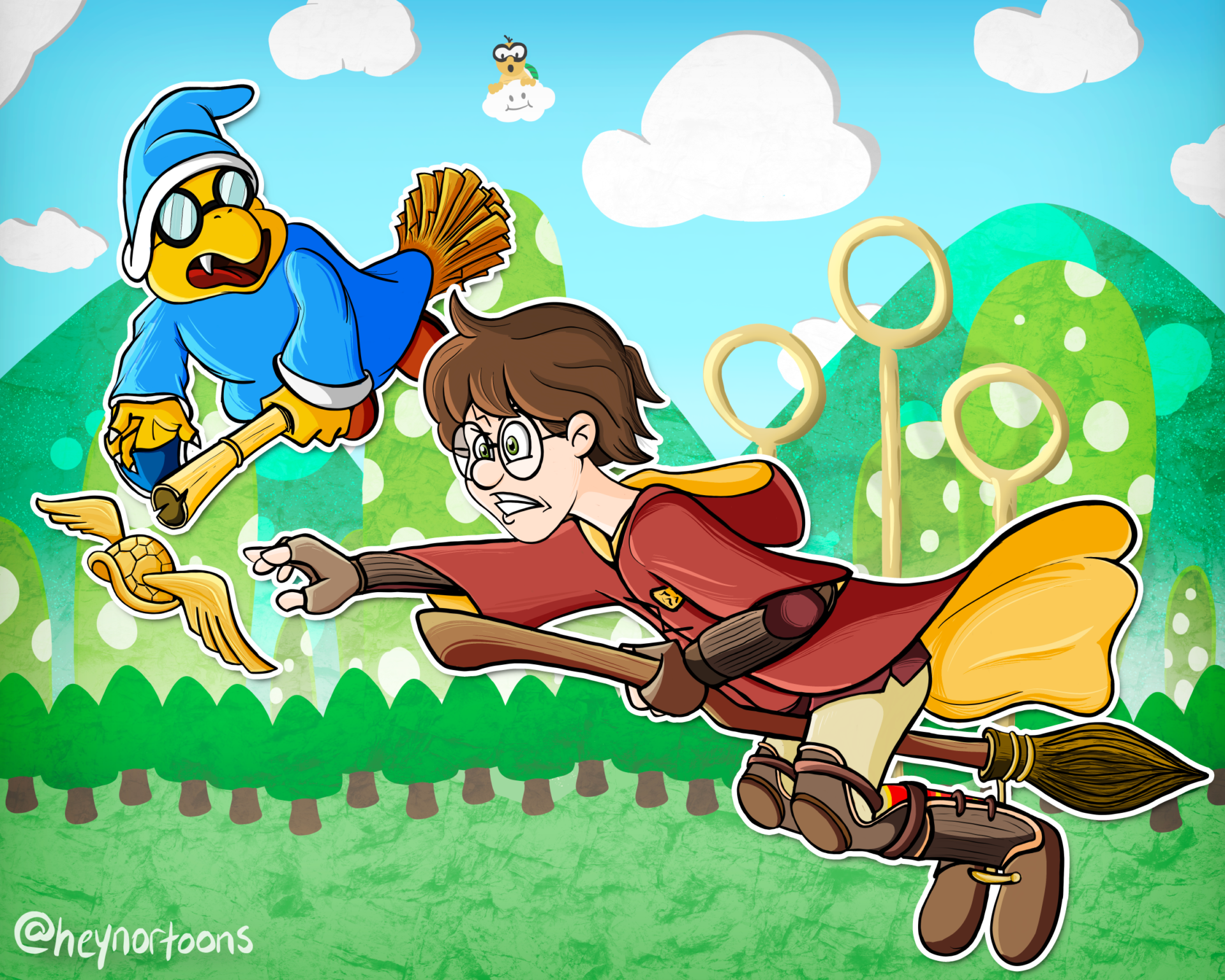 Kamek and Harry Potter playing Quidditch